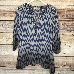 Figueroa & Flower 3/4 Sleeve Pullover Blouse Small